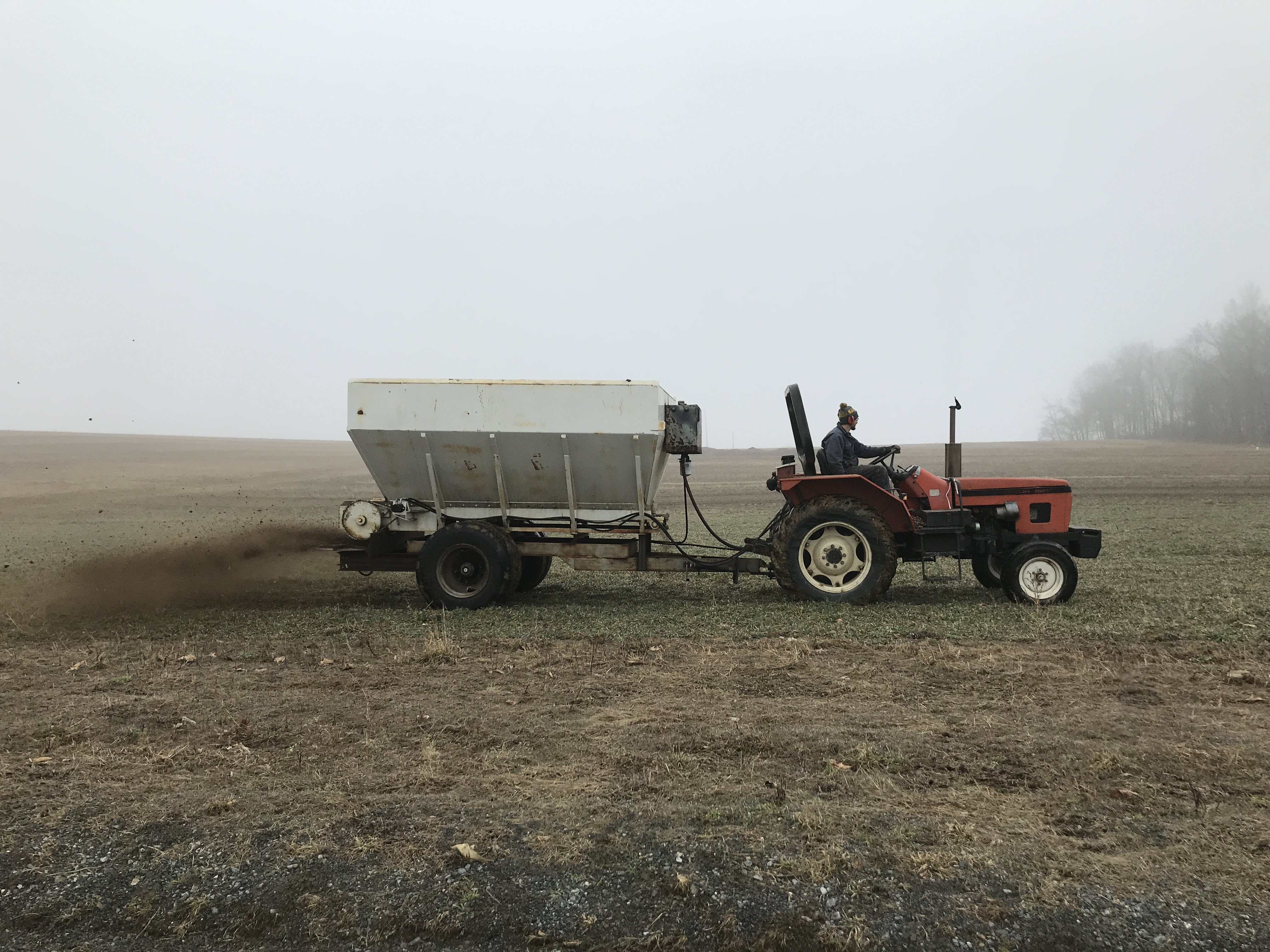 Tractor Spreading Compost