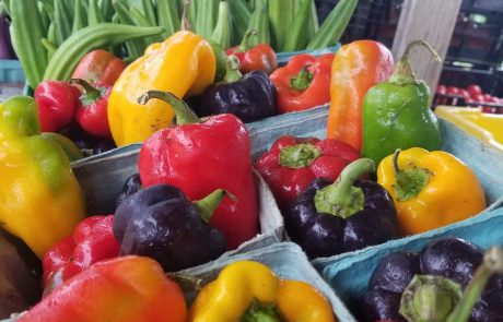 colorful peppers and okra at market