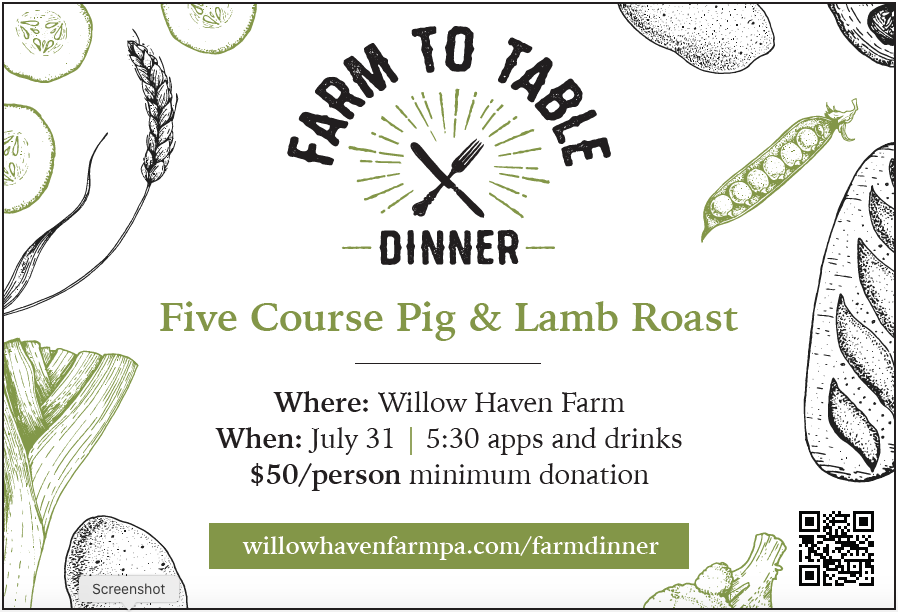 invitation to Farm to Table Dinner at Willow Haven Farm